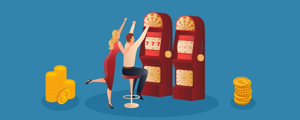 Man and woman gambling responsibly cheering for winning jackpot on slots