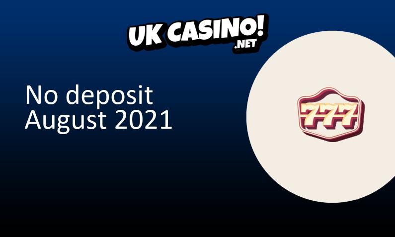 Latest 777 Casino no deposit bonus 3rd of August 2021