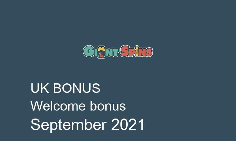Latest Giant Spins Casino UK bonus spins September 2021, 50 bonus spins